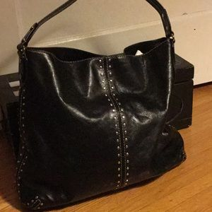 Michael Korda black leather shoulder bag